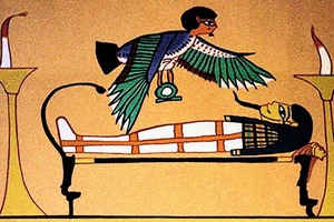 Histoire de l'hypnose débute dès le début de l'Antiquité, et même avant: Gravure illustrant la connaissance de l'hypnose à l'époque de l'ancienne Egypte. Un personnage, revêtu de riches parures, est étendu sur un lit. Un oiseau aux ailes déployés le survol tenant dans ses serres le symbole du 3eme œil, semble t'il
